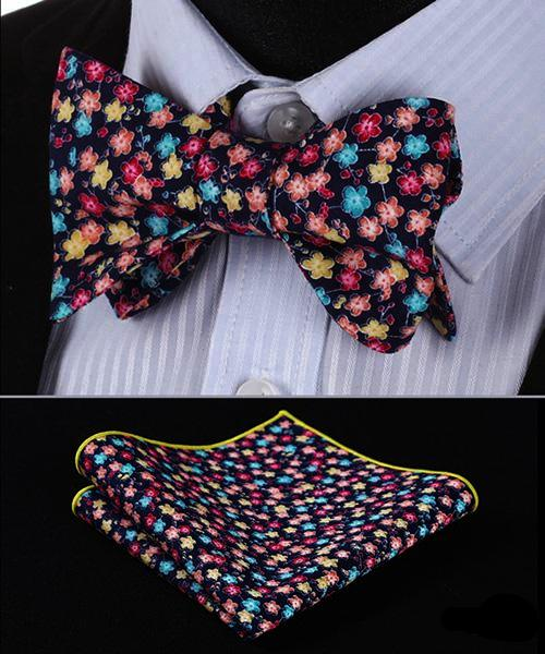 Pretty Flowers Bow Tie and Pocket Square - SOPHGENT