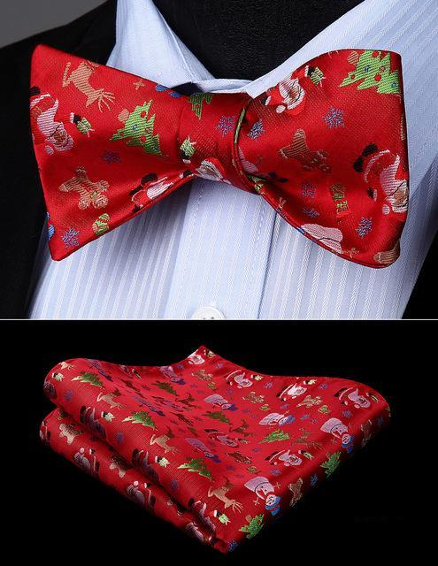 Christmas Decorations Bow Tie and Pocket Square - SOPHGENT