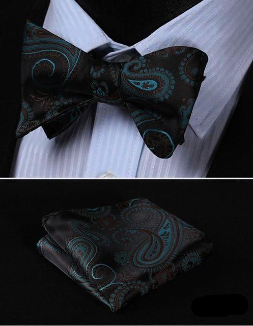 Green Storm Bow Tie and Pocket Square - SOPHGENT