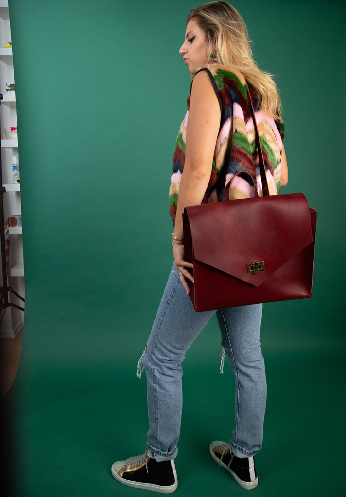 The Boss Bag - Backpack and Crossbody Bag - Oxblood