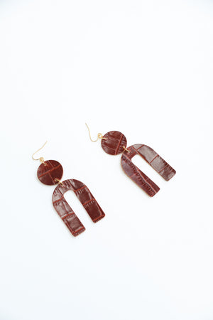 Leather Arch Earring- Croc