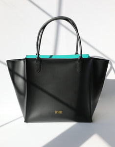 Oversized Leather Tote Work Bag - Black