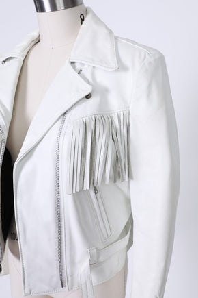 Found White Fringe Leather 'Easy Rider' Moto Jacket