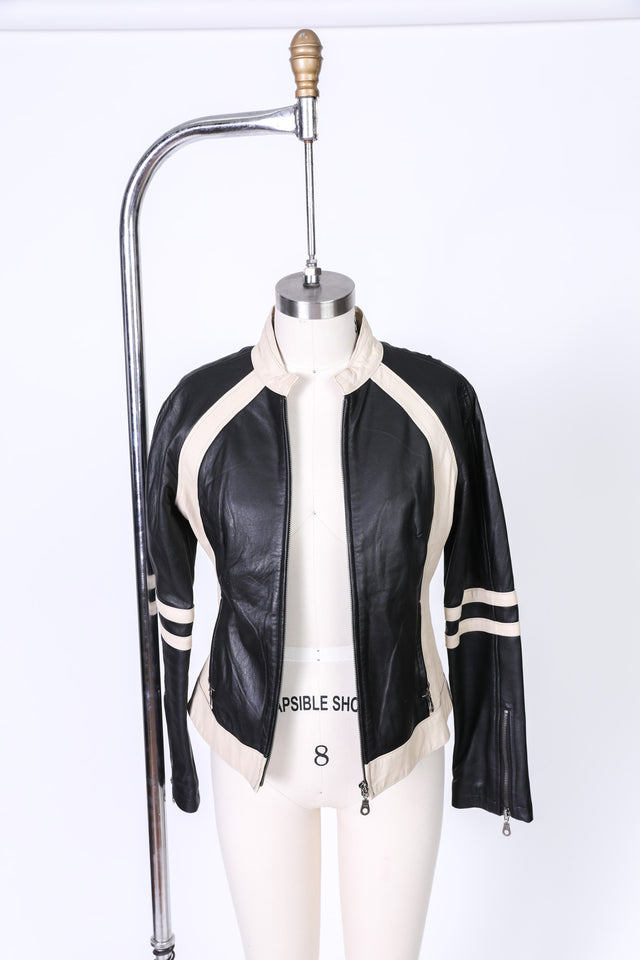 Found Leather Color blocked European style jacket