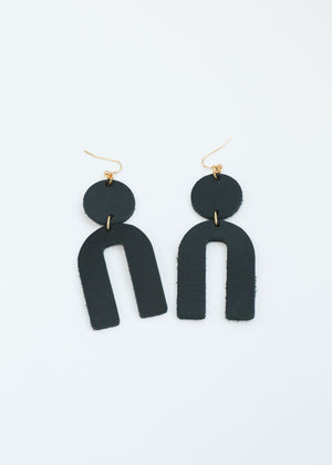 Leather Arch Earrings - Black