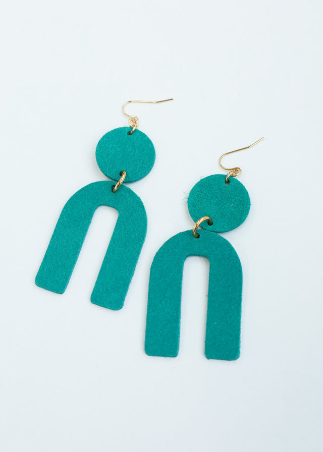 Leather Arch Earrings - Turquoise Suede