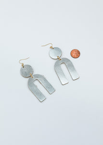 Leather Arch Earrings - Silver Metallic