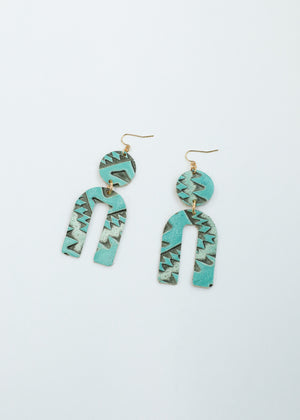 Leather Arch Earrings - Turquoise Ikat