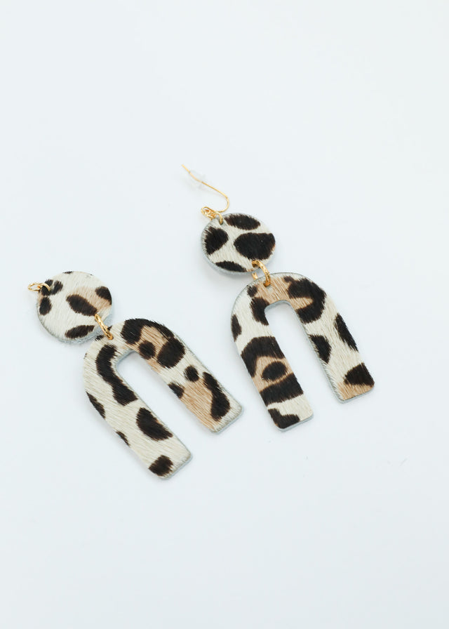 Leather Arch Earrings - Cheetah