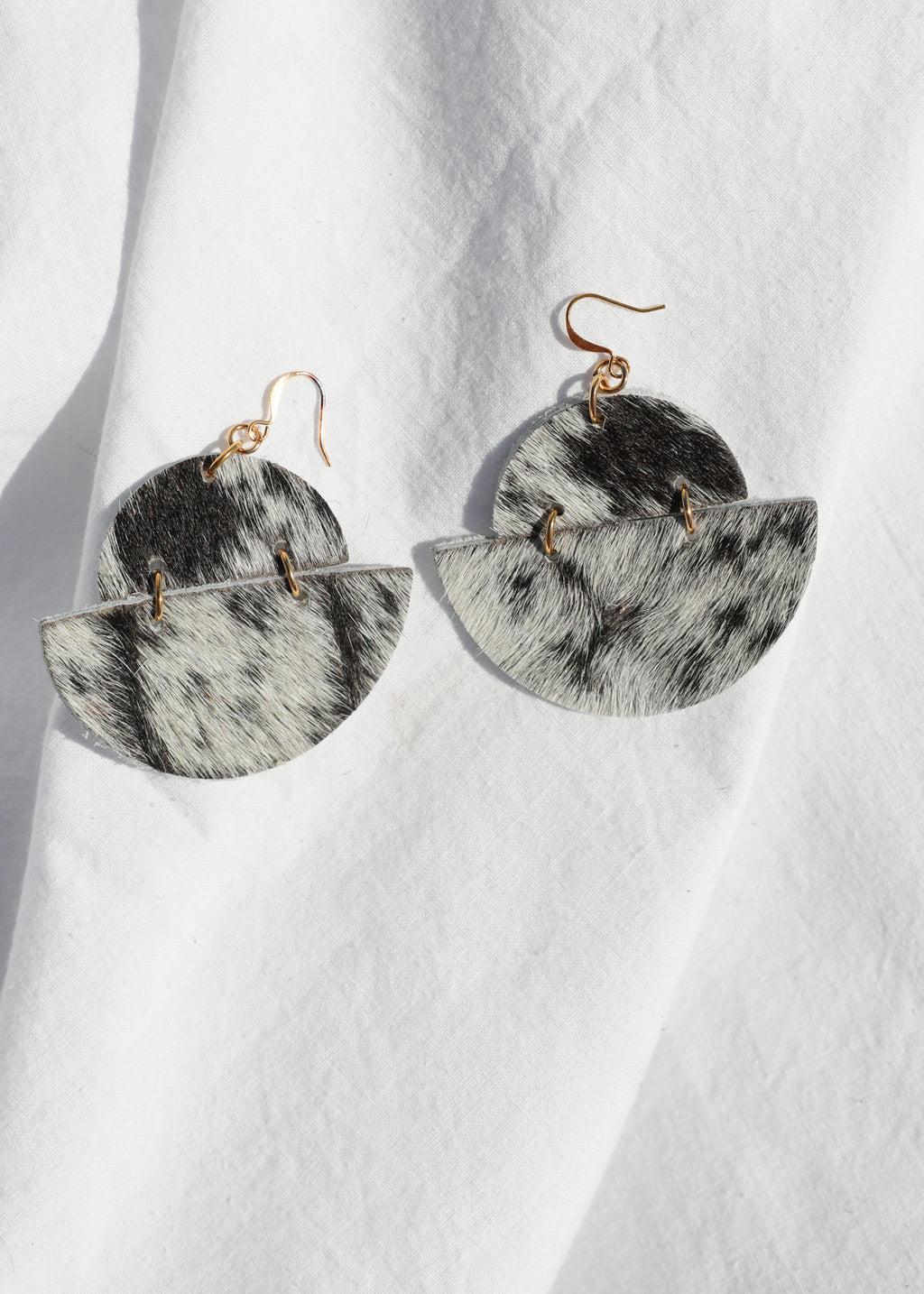 Leather Half Moon Earring - Hair on hide
