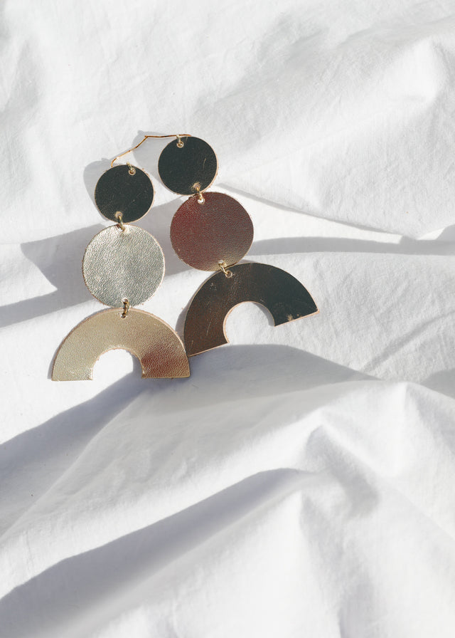Leather Stack Earring - Metallic Gold