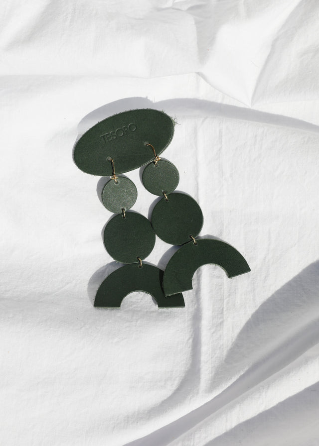 Leather Stack Earring - Green