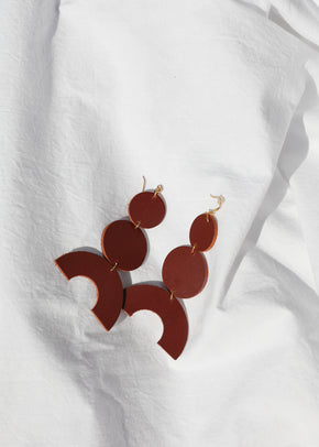 Leather Stacked Earring - Chestnut