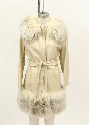 Found 1960's Dan Di Modes Leather and Faux Fur Ivory Coat