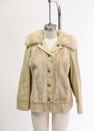 Found 1970's Mink and Leather Turn Lock jacket