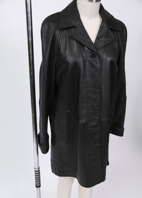 Found Buttery Soft LNR Black Leather Trench