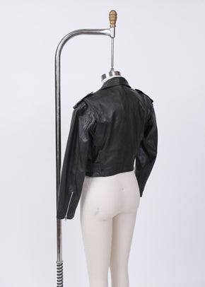 Found Wilsons Cropped Black Moto Jacket