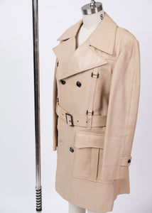 Found Cream Leather Trench Coat
