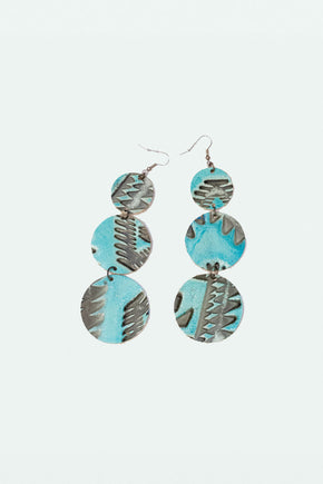 Leather Globe Earring - Ikat