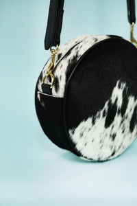 Leather Crossbody Circle Bag - Hair on Hide Black