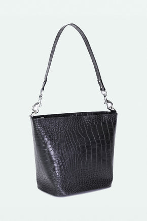 The Ruth Bucket Bag- Black Croc