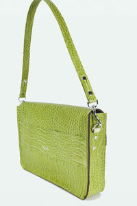Leather Envelope Purse with Shoulder Strap-  Green Croc