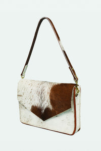 Leather Envelope Purse with Shoulder Strap- Tan Hair on Hide