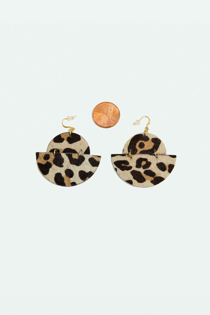 Leather Half Moon Earrings - Cheetah