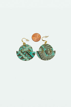 Leather Half Moon Ikat Earrings