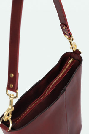 The Ruth Bucket Bag- Maroon