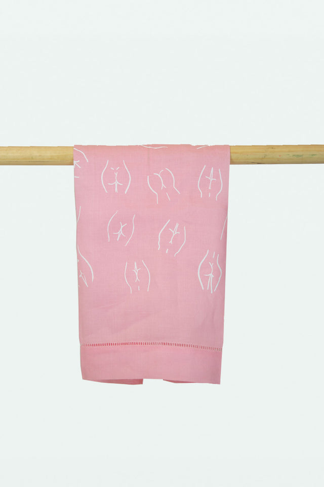 Linen Butt Printed bath towel- Pink