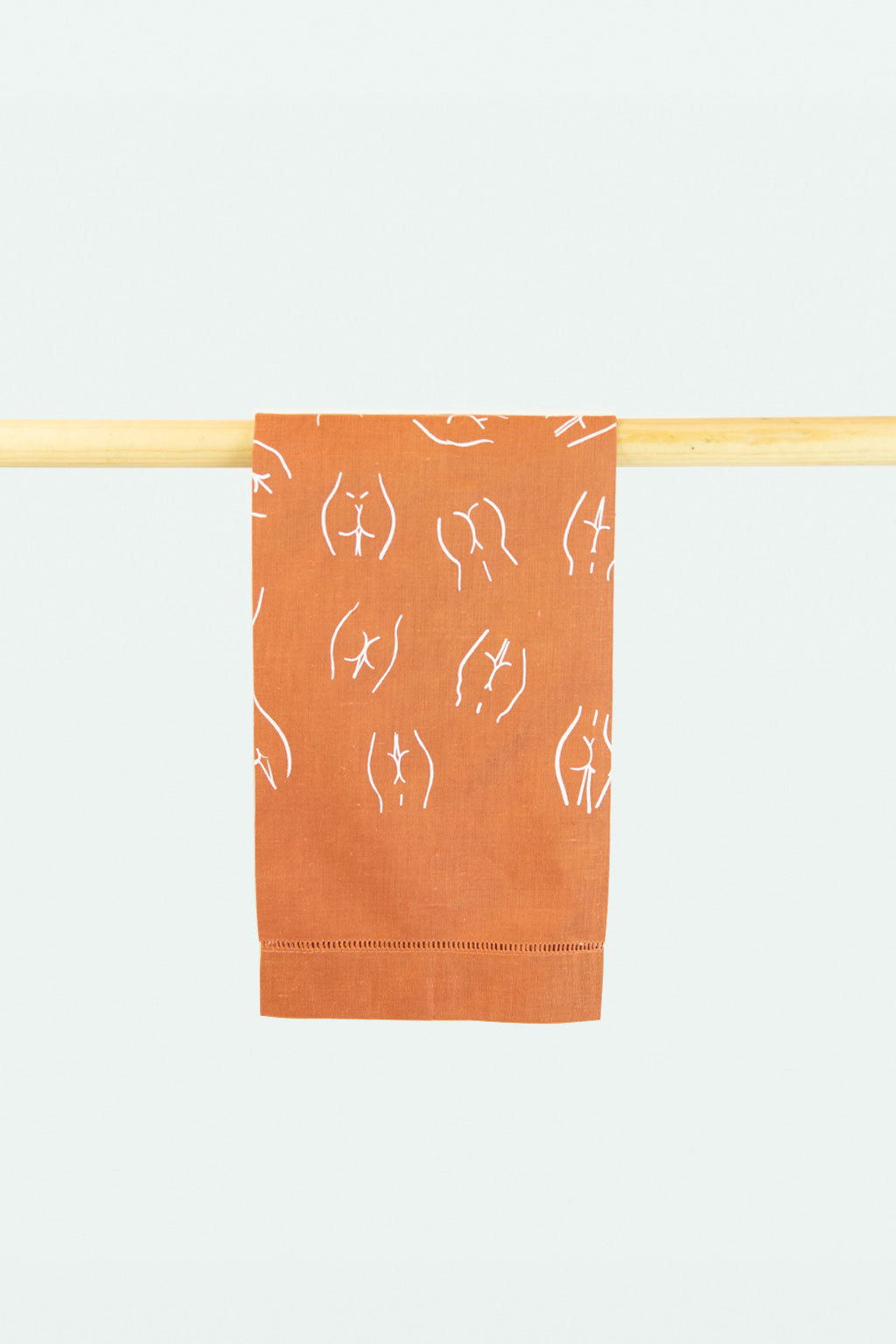 Linen Butt printed bath towel - Rust
