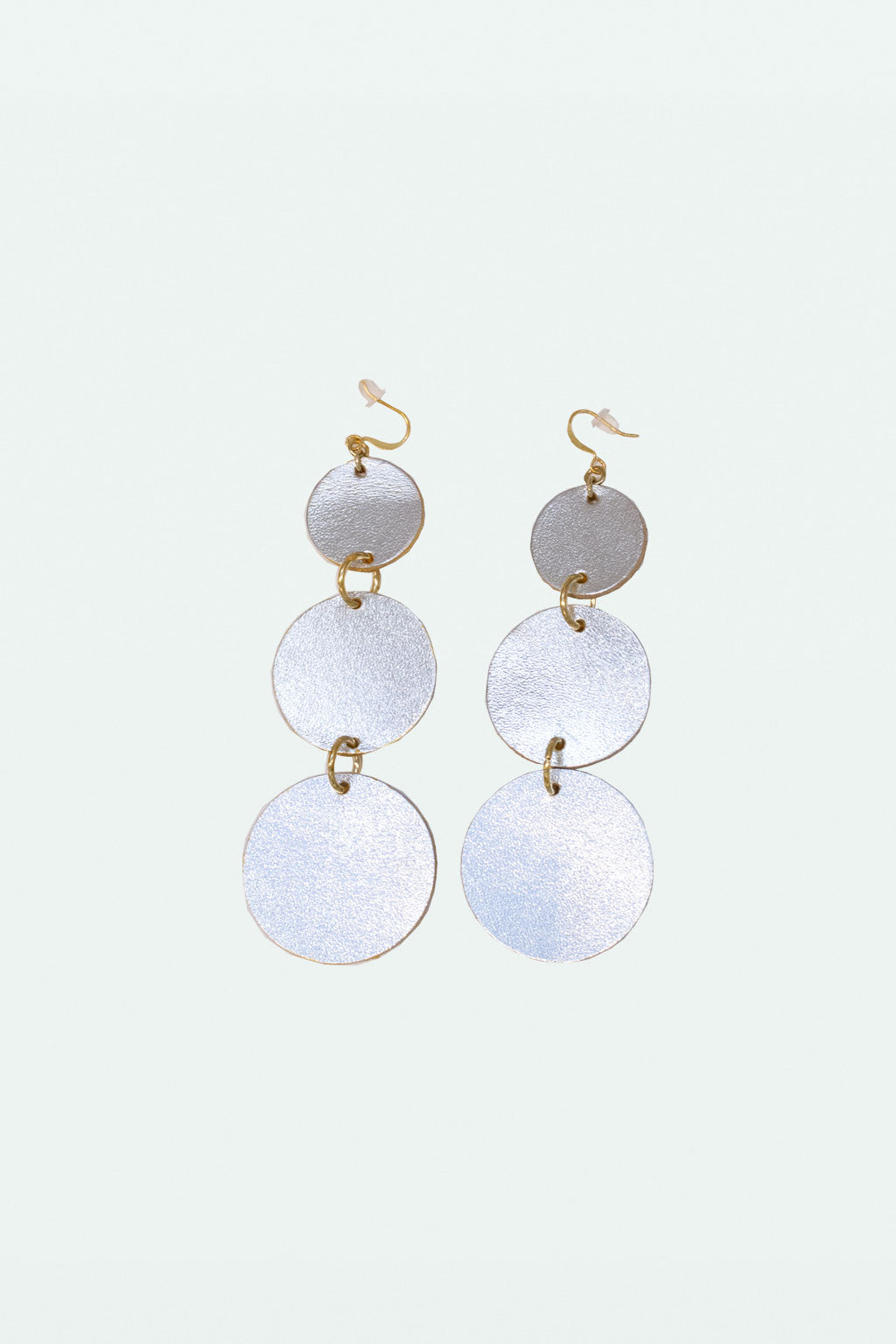 Leather Globe Earring - Silver