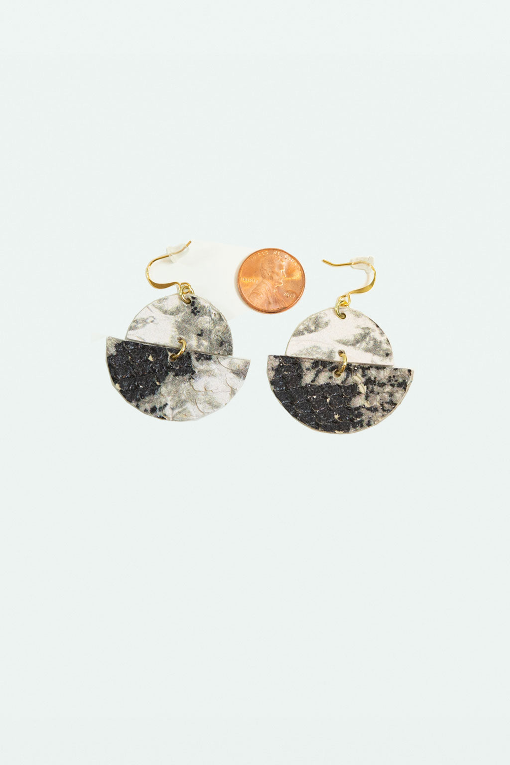 Leather Half Moon Earrings - Snake
