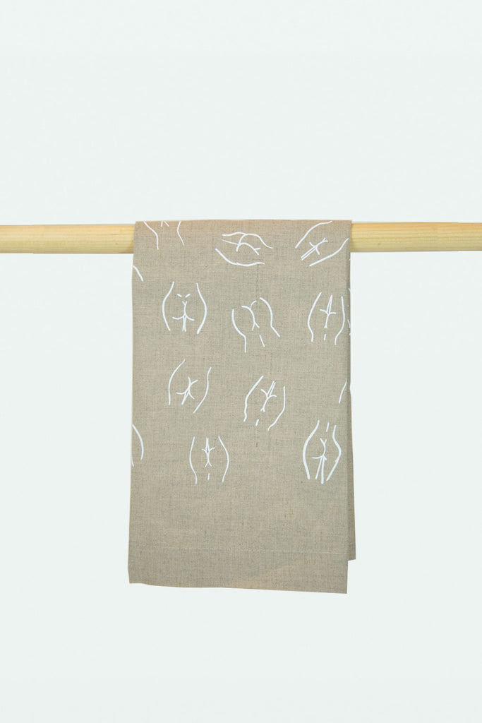 Linen butt printed bath towel - Tan