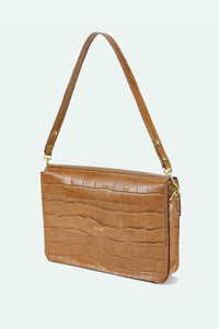 Leather Envelope Purse with Shoulder Strap-  Honey Croco