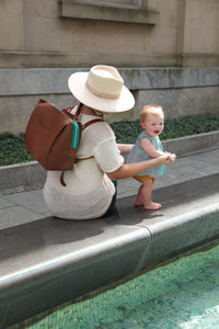 Leather Backpack & Cross body Diaper Bag - Clay