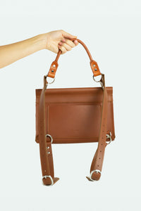 Architectural Leather Shoulder Bag  - Clay