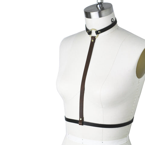 Two-Tone Custom Made Leather Harness w/ Gold Hardware