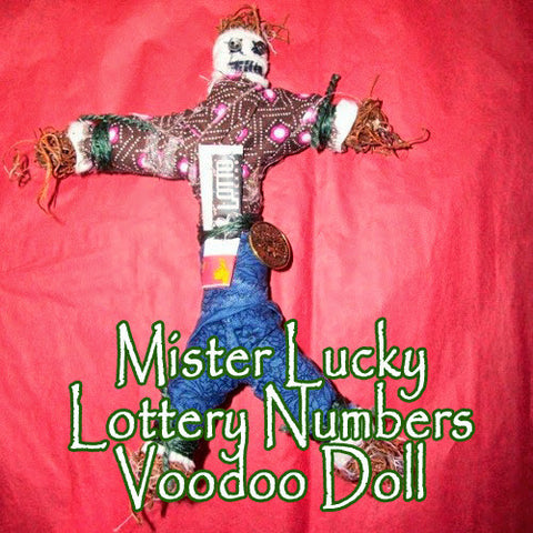 Mister Lucky Numbers Lottery Voodoo Doll makes winning energy to draw big cash prizes to you