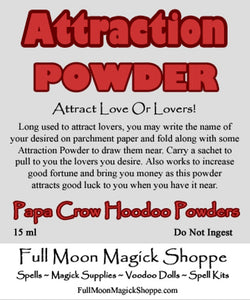 Attraction Powder will draw your desired love or lover like a moth to a flame.