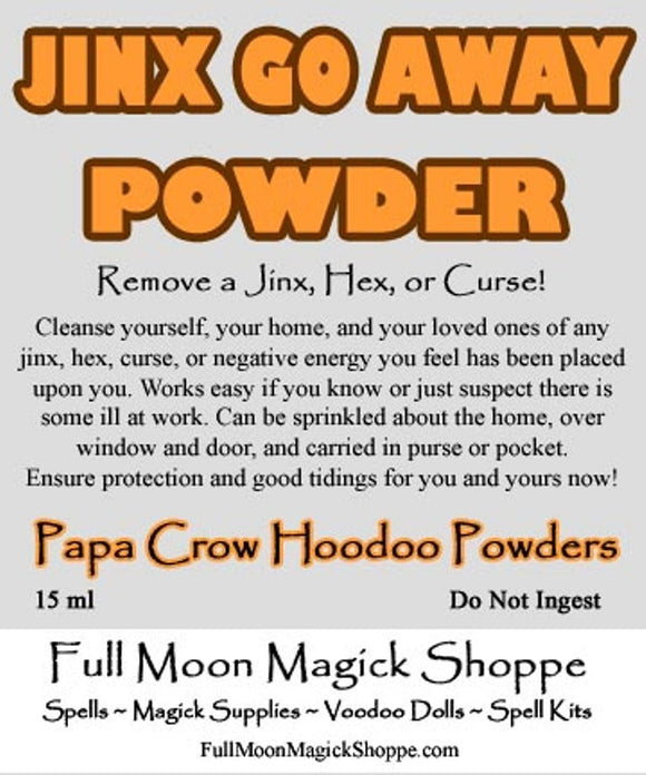 Jinx Go Away Powder removes jinx energy, stops a curse, halts negative powers in your life.