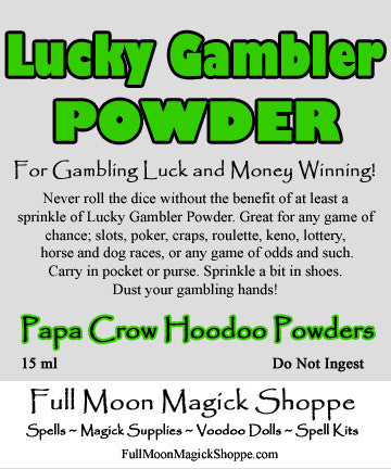 Lucky Gamble Hoodoo Powder adds luck and money winning to all games of chance.