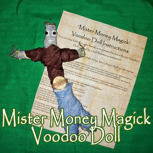 The Mister Money Magick Voodoo Doll attractas cash, money luck, and gambling success