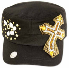 Sakkas Women's Sequin Beaded Cross Cadet Cap