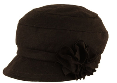 Womens Vintage Style Wool Cloche Bucket Winter Hat with Flower Accent ( 4 Colors )