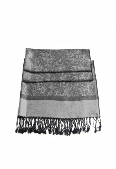 "group-Black White (Sakkas 70"" x 28"" Paisley Self-Design Pashmina Shawl / Wrap / Stole)"