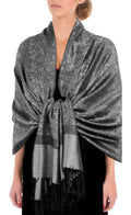 "Sakkas 70"" x 28"" Paisley Self-Design Pashmina Shawl / Wrap / Stole#color_Black White"