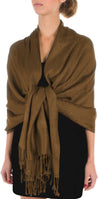 "group-Chocolate (Sakkas 70"" x 28"" Paisley Self-Design Pashmina Shawl / Wrap / Stole)"