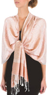 "group-Guava (Sakkas 70"" x 28"" Paisley Self-Design Pashmina Shawl / Wrap / Stole)"
